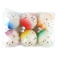 Набор елочных игрушек пластик шар d60 иний Новогодний персонаж Цена за упак 6шт
