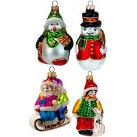"""Новогодняя игрушка формовая 4 стекло 4,5-11см """"Снеговик,Собака"""""""