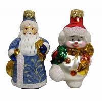 """Новогодняя игрушка формовая стекло 9см """"Дед Мороз,Снеговик"""" 1113"""