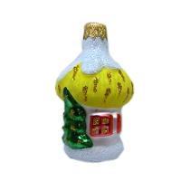 """Новогодняя игрушка формовая стекло 8см""""Домик"""" 1057"""