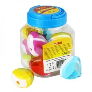 Точилка пластик Tiki 12шт в банке с контейнером 52611-TK