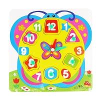 Игрушка деревянная Часы рамка-вкладыш с ручкой в кульке MD0959