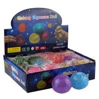 Игрушка резиновая антистресс Galaxy Squeeze Вall мелкие блестки 5-5 (2615)