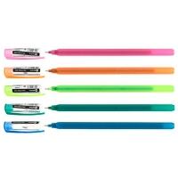 Ручка масляная синяя Optima Flame 0,7мм корпус ассорти О15643-02