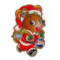 Наклейка новогодняя Мышка с мешком  и елочной игрушкой металик 5-33 (6167)