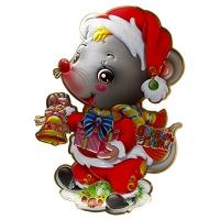 Наклейка новогодняя Мышка с подарком и колокольчиком металик 5-35 (6167)