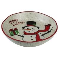 Тарелка Новогодняя керамическая снеговик d22,5см Pioner 92272-PN