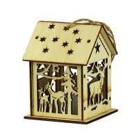 Новогодняя подвеска Домик олени со светом деревянная 9*6.5*6.5см 91917-PN