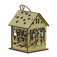 Новогодняя подвеска Домик со светом деревянная 9*6.5*6.5см Pioner 91918-PN