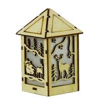 Новогодняя подвеска Домик со светом деревянная 14*7*7см Pioner 92205-PN