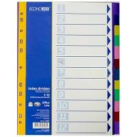 Разделитель А4 пластиковый цветной 12 шт E30808