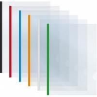 Папка А4 пластиковая с планкой-прижимом Economix 95л ассорти 15мм Е31211