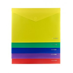 Папка на кнопке А5 конверт прозрачная Е31316-02,03,04,12