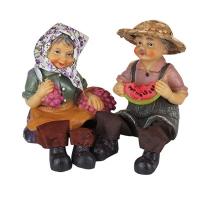 """Статуетка """"Дед и бабка"""" керамика (2шт/комплект) арт. 8717АВ 6-79 (7081)"""
