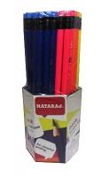 Карандаш чернографитный Nataraj Neon HB шестигранные с ластиком заостренный 72 шт 201158003
