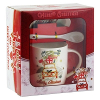 Набор подарочный Чашка с крышкой+ложка машина с подарками 92286-PN