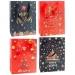 Пакет подарочный бумажный Новогодний черный, красный   18*24*8 см, микс, арт. 00085 S (720)