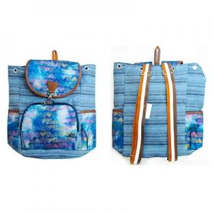 Рюкзак тканевый сердечки+квадраты 8-45