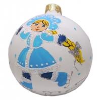 Стеклянный шар d80мм Новогодняя Снегурочка 80473 Полимер