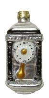 """Новогодняя игрушка формовая стекло 9см """"Часы тумба"""" 1079"""