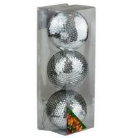 Набор елочных игрушек пластик шар 8см серебро чешуя в упак 3шт 92140-PN