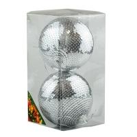 Набор елочных игрушек пластик шар10см чешуя серебро в упак 2шт 92141-PN