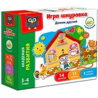 Игра шнуровка с липучками Домик друзей рус VT5303-01