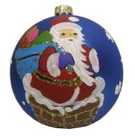 Стеклянный шар d90мм Дед Мороз 90120 Полимер