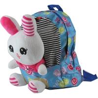 Рюкзак детский Медвежонок-Зайка текстиль с игрушкой 6-195 (10878)