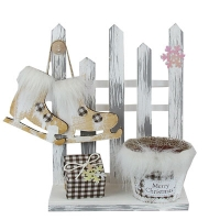 Новогодний декор Забор с коньками (140)