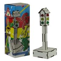 Светлофор 12 ламп работает на 4 стороны 7*7*20см МДФ белая Е-001