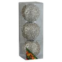 Набор елочных игрушек пластик шар 8см в упак 3шт 92077-PN