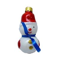 """Новогодняя игрушка формовая стекло 8,5см """"Снеговик с шарфиком"""" 1065"""