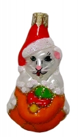 """Новогодняя игрушка формовая стекло 10см """"Котик сказочник"""" 121"""