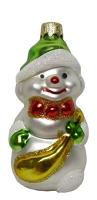 """Новогодняя игрушка формовая стекло 9,5см """"Снеговик с клюшкой"""" 1018"""