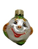 """Новогодняя игрушка формовая стекло 4,5см """"Колобок"""" 1124"""