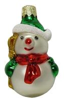 """Новогодняя игрушка формовая стекло 6,5см """"Снеговик"""" 1028"""