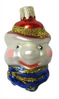 """Новогодняя игрушка формовая стекло 6см """"Голова снеговика"""" 1042"""
